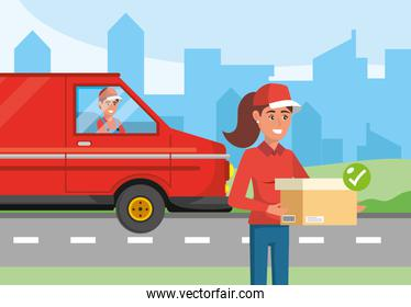 delivery woman with package and man in the van transport