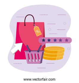 shopping bag sale with basket and coins