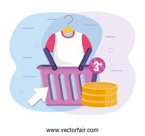 ecommerce with shopping basket and shirt with digital coins