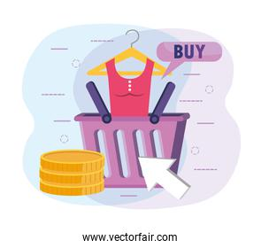 shopping basket with blouse and digital coins