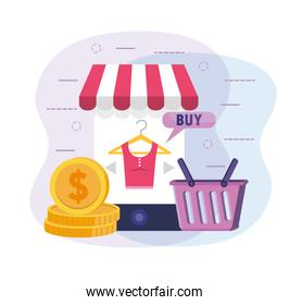 smartphone shopping online to ecommerce technology with basket and coins