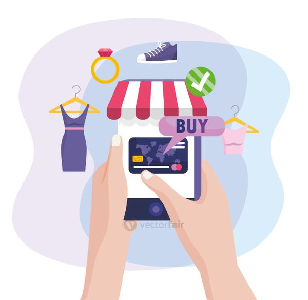 hands with smartphone technology and shopping clothes online