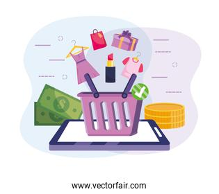 tablet technology with online shopping basket