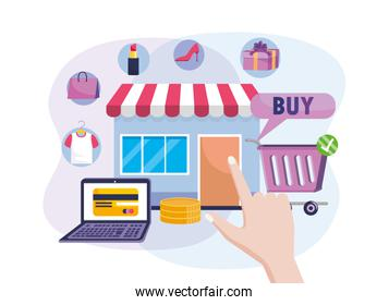 digital market sale with laptop ecommerce technology and shopping cart