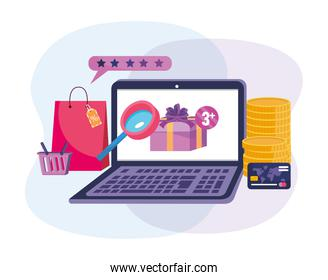 laptop technology with coins and credit card