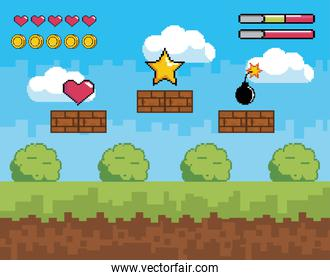 videogame scene with heart life and coins bars