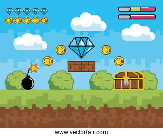 videogame scene with life bar and diamond with coins