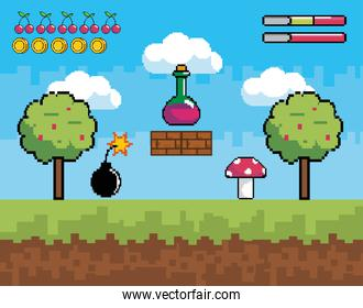 pixelated videogame scene with potion and fungus with bomb