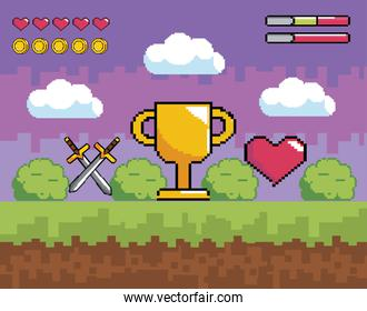 videogame scene with pixelated cup prize and swords with heart