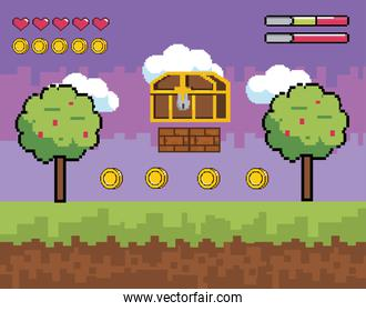 videogame scene with pixelated coffer with trees and coins