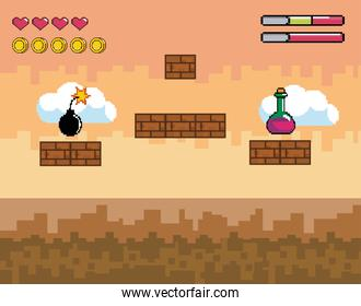 pixelated videogame scene with potion and bomb with life bar