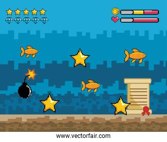 pixelated videogamen overwater scene with star and heart life bars
