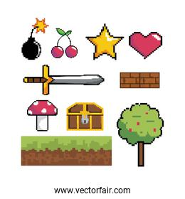 set of pixelated videogame graphic scene technology