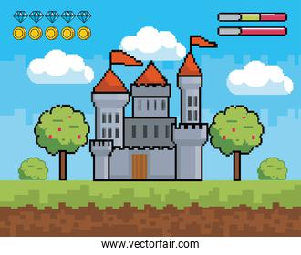 castle with trees and bushes with life bars