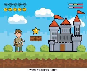boy with sword and castle with star and life bars