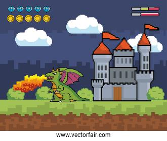 castle with dragon spits fire and life bar