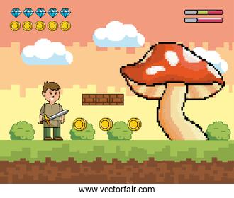 boy with sword and fungus with diamonds and coins bars