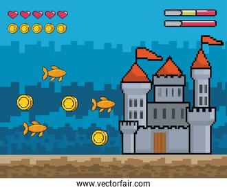castle with fishes and coins with hearts life bars