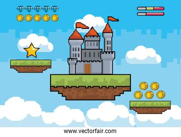 castle with star and coins with diamonds bars