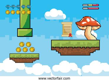 fungus with letter message and tube with life bars