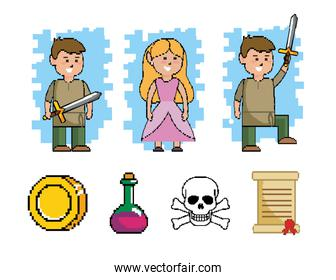 set of boy with sword and princess with videogame graphic