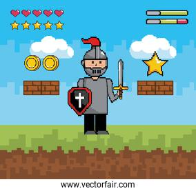 sir boy with shield and sword with bars life