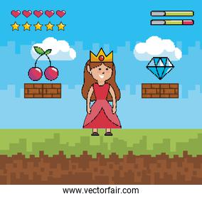 princess wearing crown with cherry and diamond with life bars