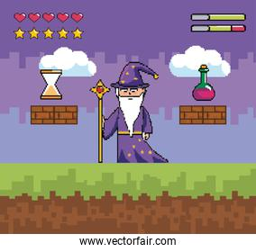 magician with magic wand and potion with hourglass