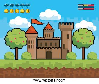 castle with trees and bushes with diamonds and stars bars