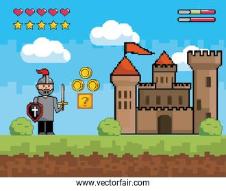 sir boy with shield and sword with castle