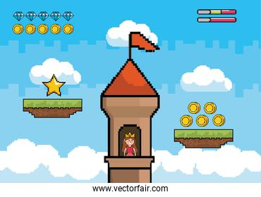princess in the tower with coins and diamonds bars