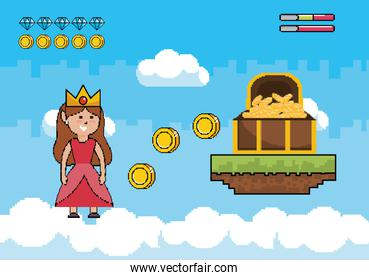 princess wearing crown with coins inside coffer and life bars