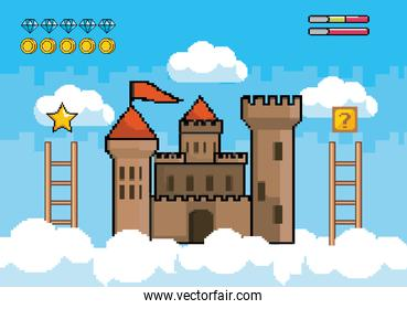castle in the air with ladders and diamonds with coins bars