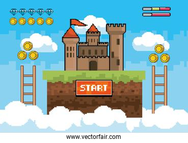 castle with ladders and coins with diamonds bars life