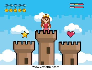 princess in the tower with star and heart with life bars
