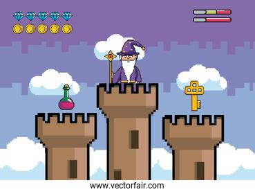 magician magic wand in the tower with potion and key
