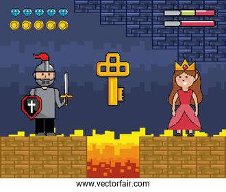 sir boy with shield and sword with princess and key