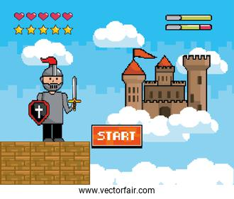 sir boy with shield and sword with castle and life bars