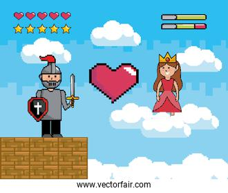 sir boy with shield and sword with princess and heart