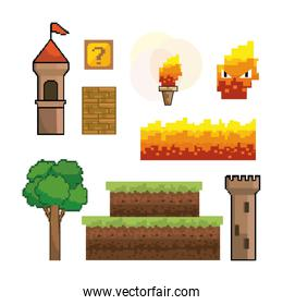 set of pixelated videogame graphic design