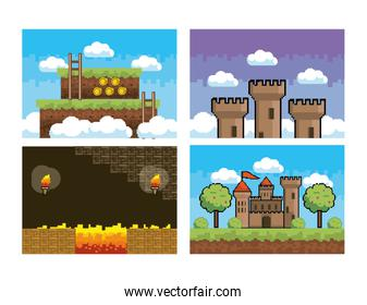 set of pixelated videogame scene and graphic design