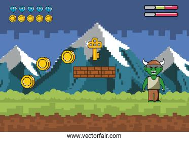 snowy mountains with demon character and key with coins