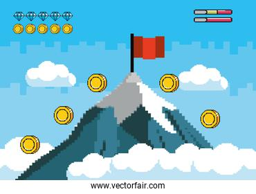 snowy mountain with red flag and coins