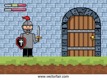 sir boy with shield and sword with castle door