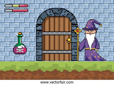 magician with magic wand and danger potion in the castle door