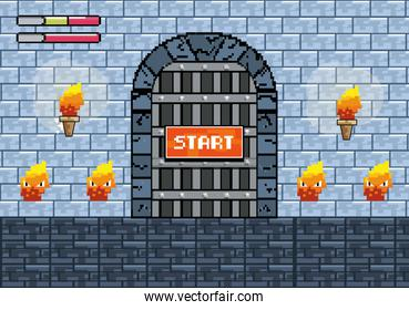 castle door with torches and fire characters