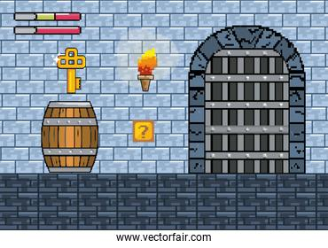 castle door with key in the barrel and life bars