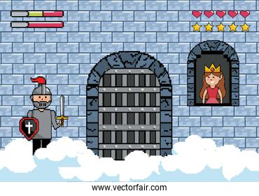 sir boy in the castle door and princess in the window