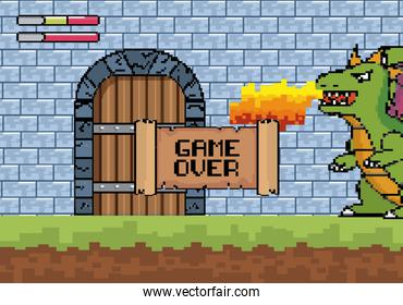dragon spits fire in the castle door with game over message