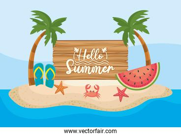 palms trees with wood emblem and watermelon with flip-flop and crab with starfishes
